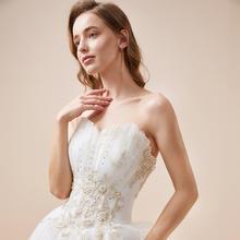 《贝加尔湖畔》森系仙气梦幻气质抹胸齐地婚纱