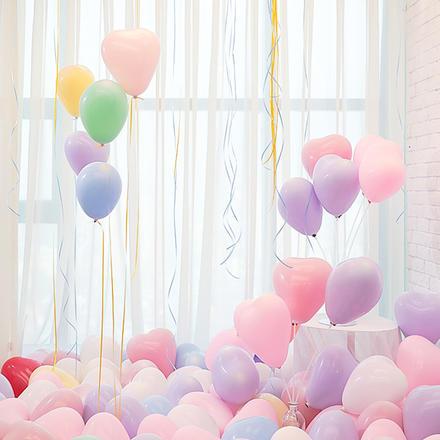 双层马卡龙心形气球50个 送打气筒