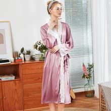 冰丝绸精致蕾丝长款晨袍睡衣