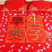 婚床装饰早生贵子模板