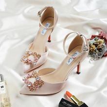2款跟高可选 夏季一字带香槟水钻婚鞋
