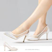 镂空蕾丝浅口尖头白色水钻后跟丝带高跟婚鞋