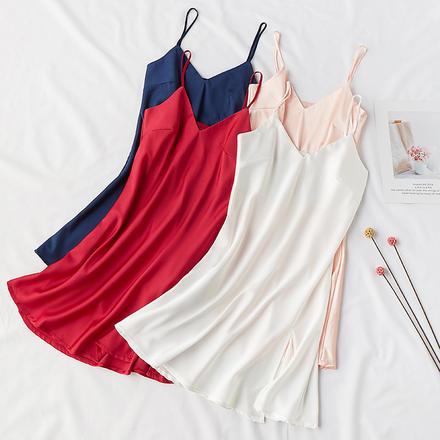 新娘伴娘晨袍内搭冰丝缎面打底吊带睡裙