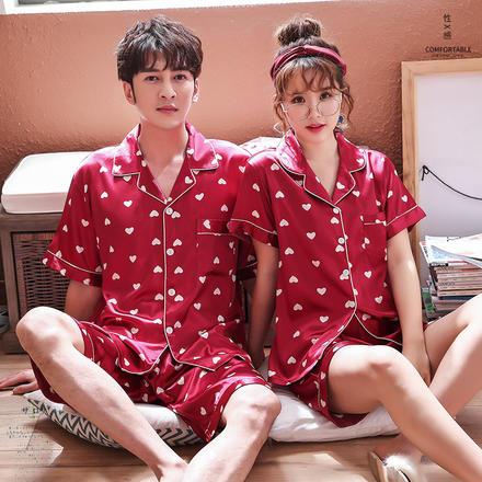 情侶睡衣冰絲男女夏仿真絲短袖短褲套裝韓版愛心家居服可外穿