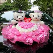 双层纱花小熊婚车头装饰