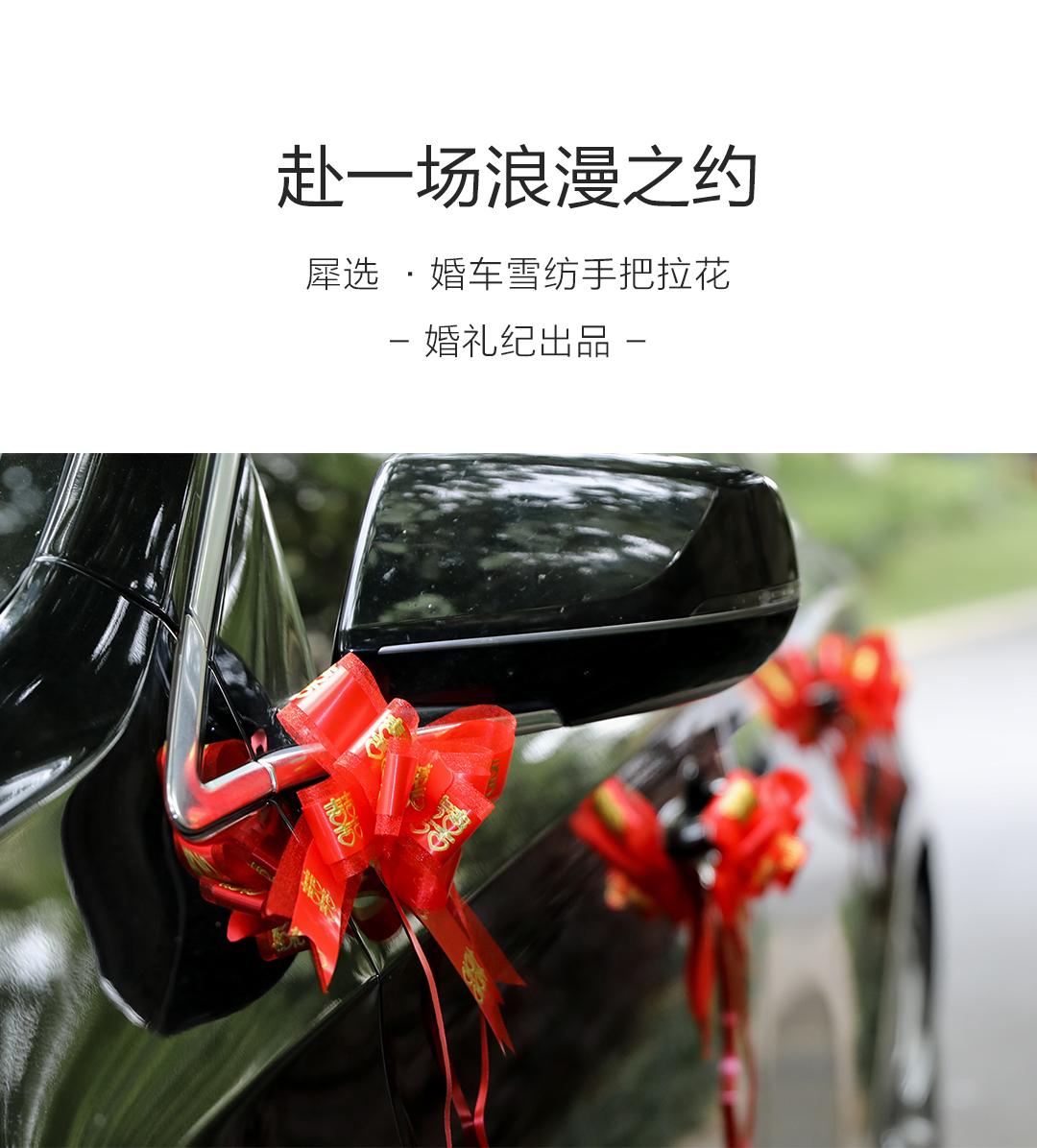【10个装】婚车装饰雪纺烫金喜字手拉花