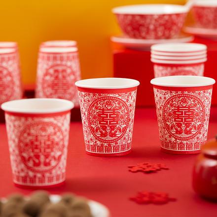 【48个装】中式婚宴纸杯剪纸款