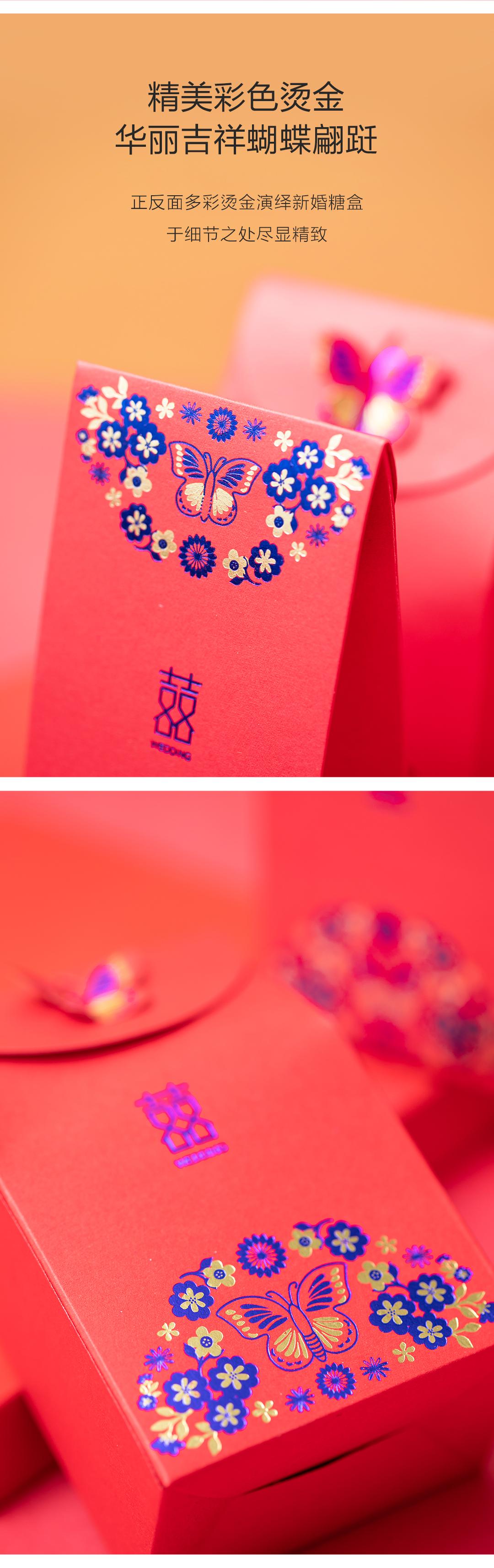 【大号可装烟】蓝金蝴蝶喜糖盒