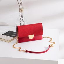 红色金属链条单肩斜跨小方包婚包