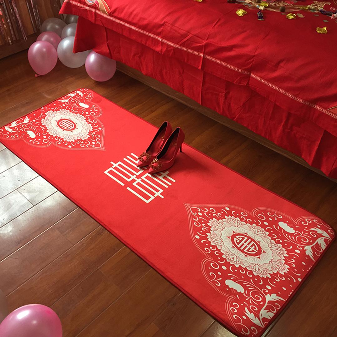 中式永结同心新婚脚垫