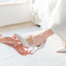 交叉珍珠系带优雅缎面细跟婚鞋