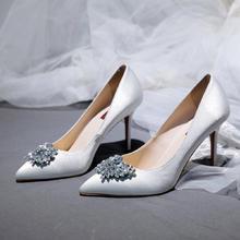 新款水钻装饰优雅缎面新娘婚鞋