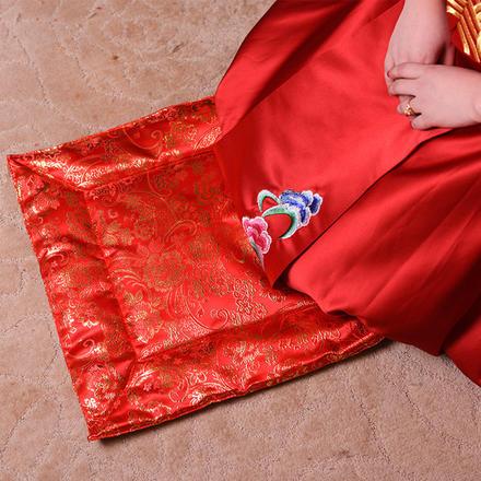 【一对】新娘金色富贵花加厚跪垫