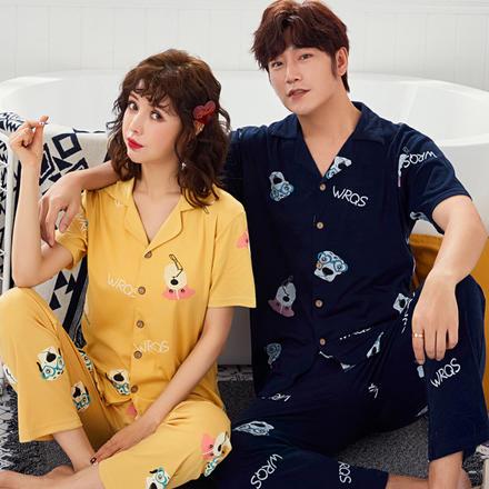 韩版情侣睡衣夏季短袖可爱纯棉可外穿两件套