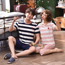 新款纯棉夏季韩版情侣睡衣可爱短袖短裤家居服套装