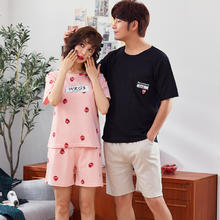 夏季纯棉短袖情侣睡衣韩版薄款家居服两件套装