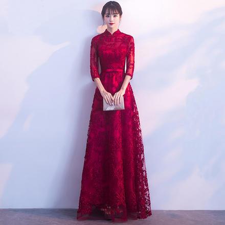 敬酒服2019新款修身时尚中袖立领长款新娘礼服