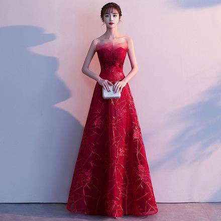 敬酒服2019新款修身时尚无袖抹胸长款新娘礼服