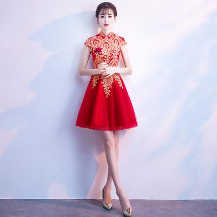 敬酒服2019新款修身时尚短袖立领短款新娘礼服