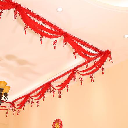 无纺布拉旗折扇婚房布置
