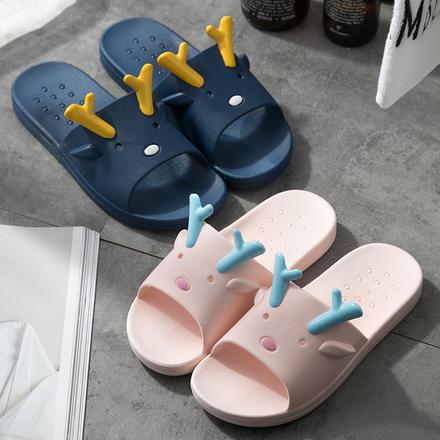 【买一赠一】可爱鹿角防滑耐磨浴室居家情侣拖鞋