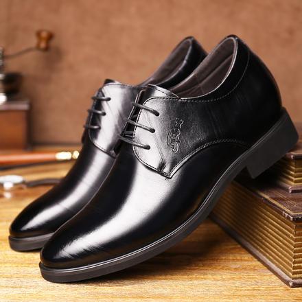 男士尖头婚鞋6cm内增高正装皮鞋