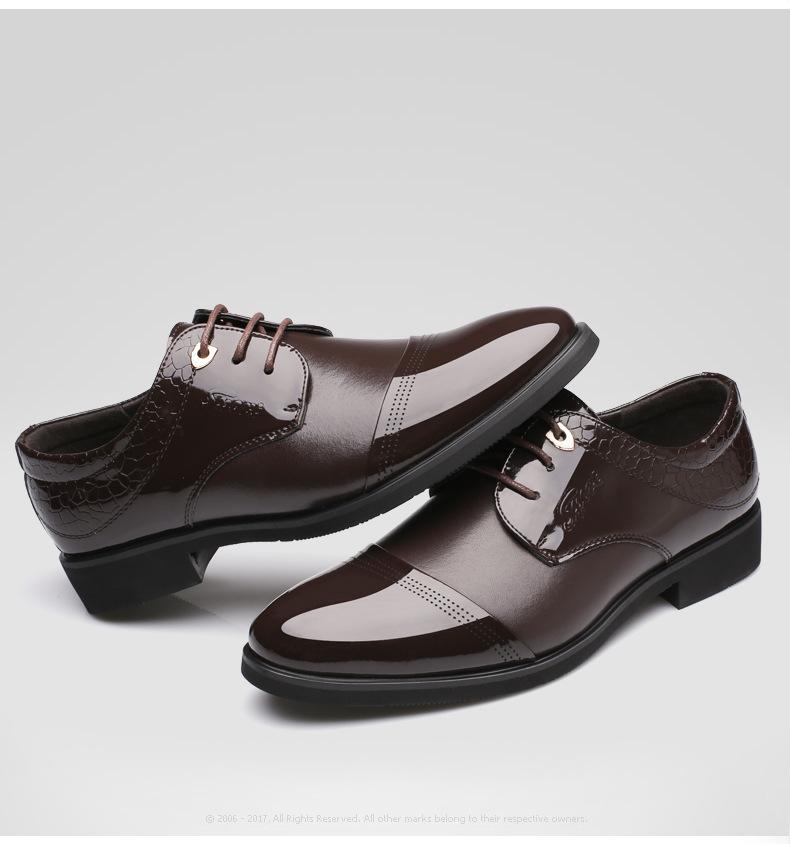 经典款亮面尖头男士正装商务皮鞋