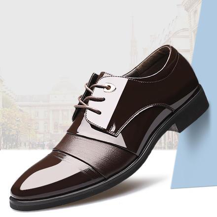 系带亮面拼接男士正装商务皮鞋