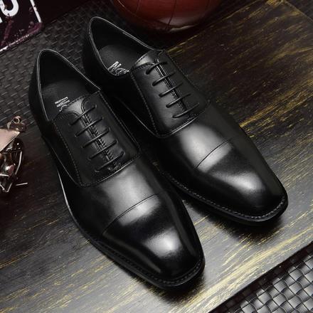 日系复古3cm鞋跟隐形增高真皮男士商务皮鞋