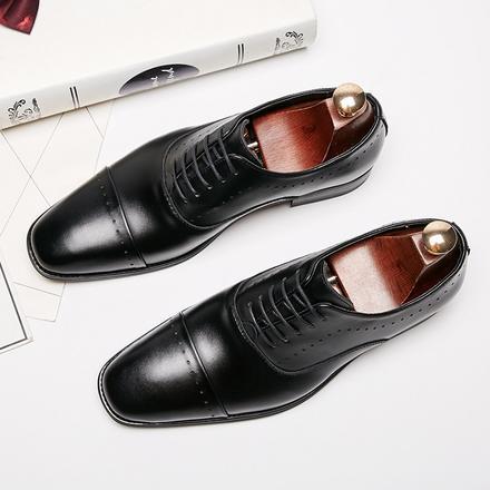 商务正鞋真皮休闲白搭男士皮鞋