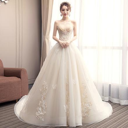 主轻婚纱2019新款新娘香槟色森系拖尾法式出门抹胸超仙显瘦简