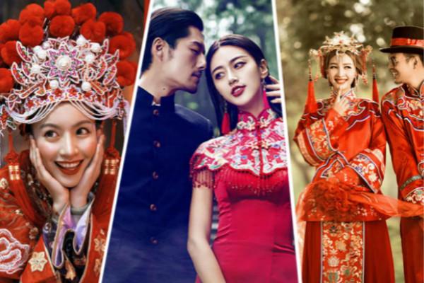 红色中式婚纱照