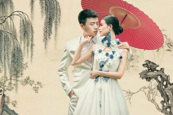 中式浅蓝婚纱照
