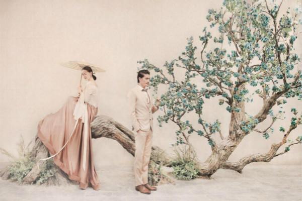 中式素色婚纱照