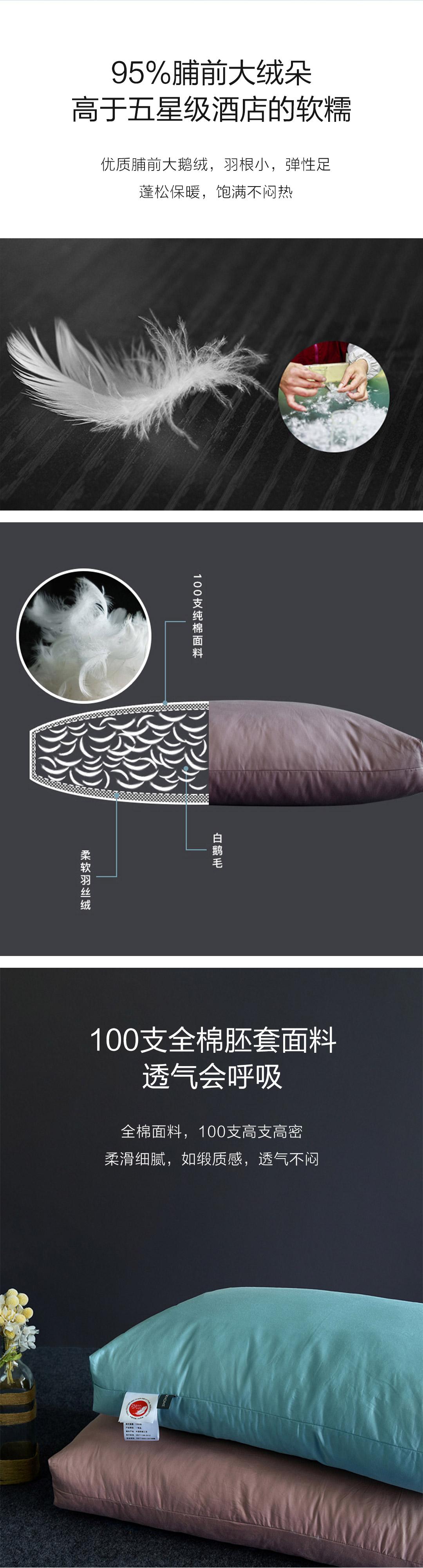 100支全棉贡缎白鹅绒枕芯