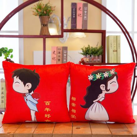 【一对】婚庆红色卡通抱枕压床娃娃