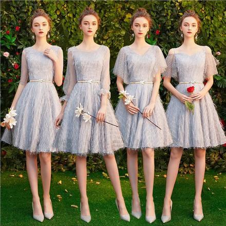 灰色流苏短款气质显瘦姐妹团伴娘服