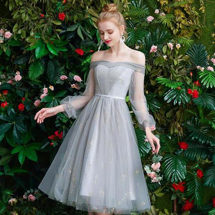 仙美银灰色星空显瘦梦幻伴娘服