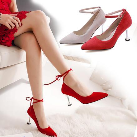 性感绑带质感麂皮红色婚鞋