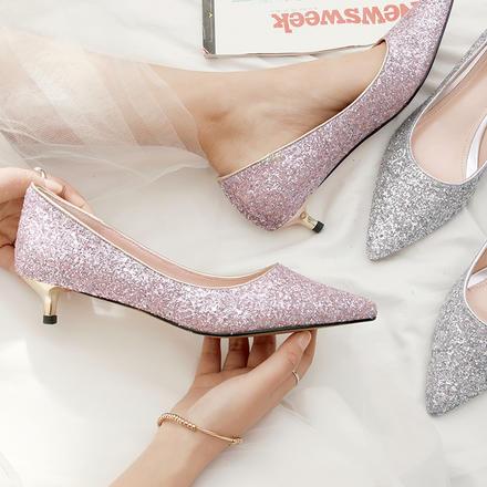 舒适小猫跟3CM亮片水晶婚鞋