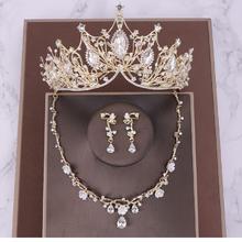 新款欧美风水钻巴洛克新娘发饰皇冠三件套