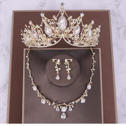 欧美风水钻巴洛克新娘皇冠三件套