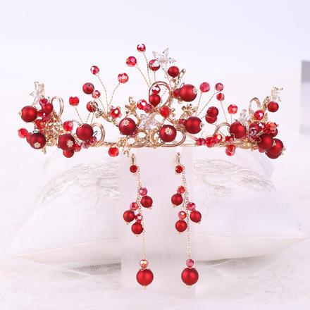 红色喜庆头箍新娘发饰两件套