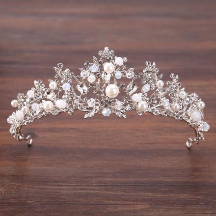 新款欧美风银色手工新娘水钻皇冠
