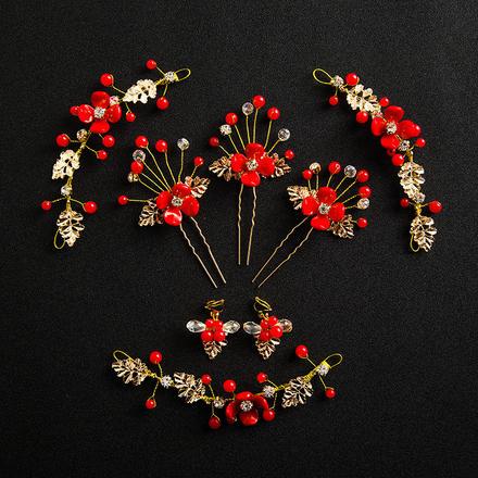 中式花朵发簪新娘叶子发带