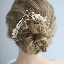 欧美纯手工珍珠插梳新娘头饰两件套