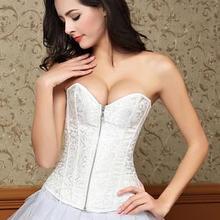 暗花拉链无肩带收腹托胸宫廷婚纱塑身衣