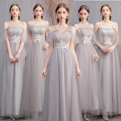 2019新款灰色长款显瘦仙气姐妹裙闺蜜团伴娘服