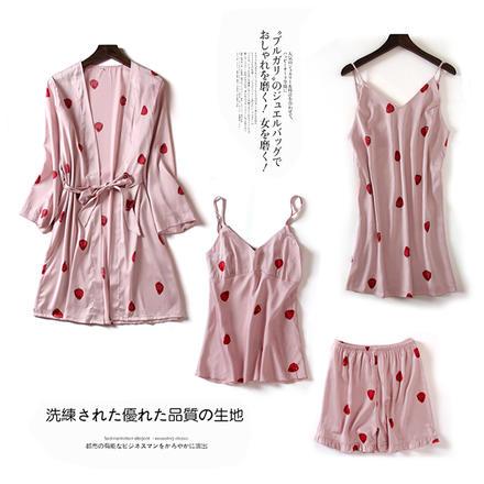可爱草莓晨袍吊带睡裙套装睡衣四件套