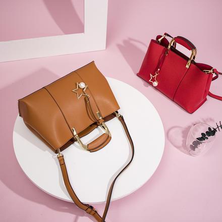 帕纳纹红色女式大容量手提包